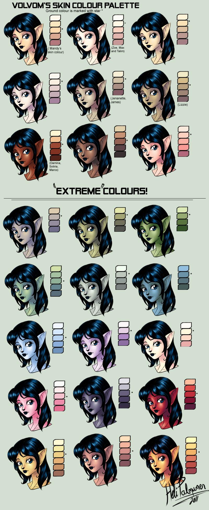 Character Design Colour Palette : My skin colour palette by volvom on deviantart