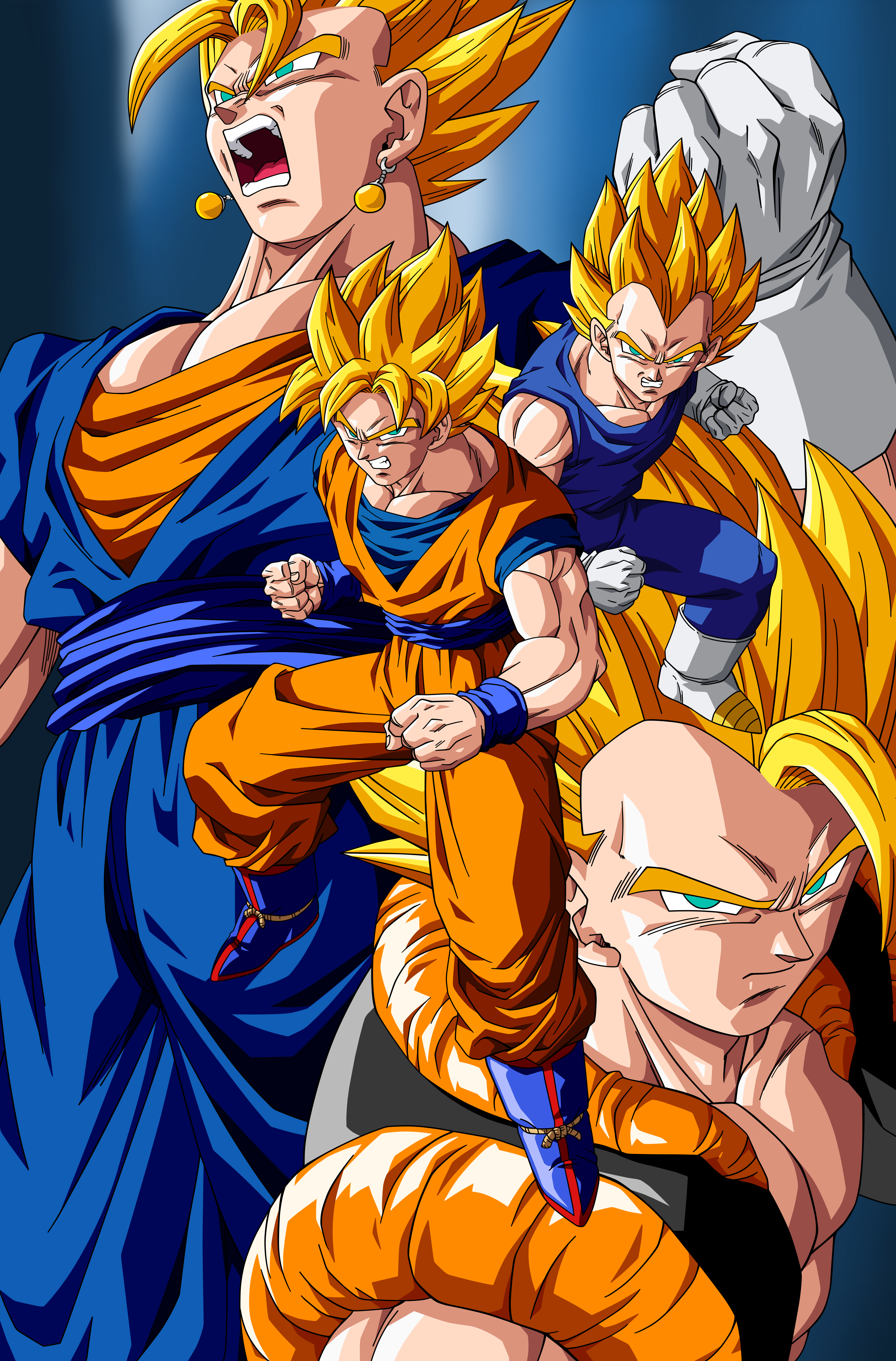 Commission: Gokuh and Vegeta Fusions by Raykugen