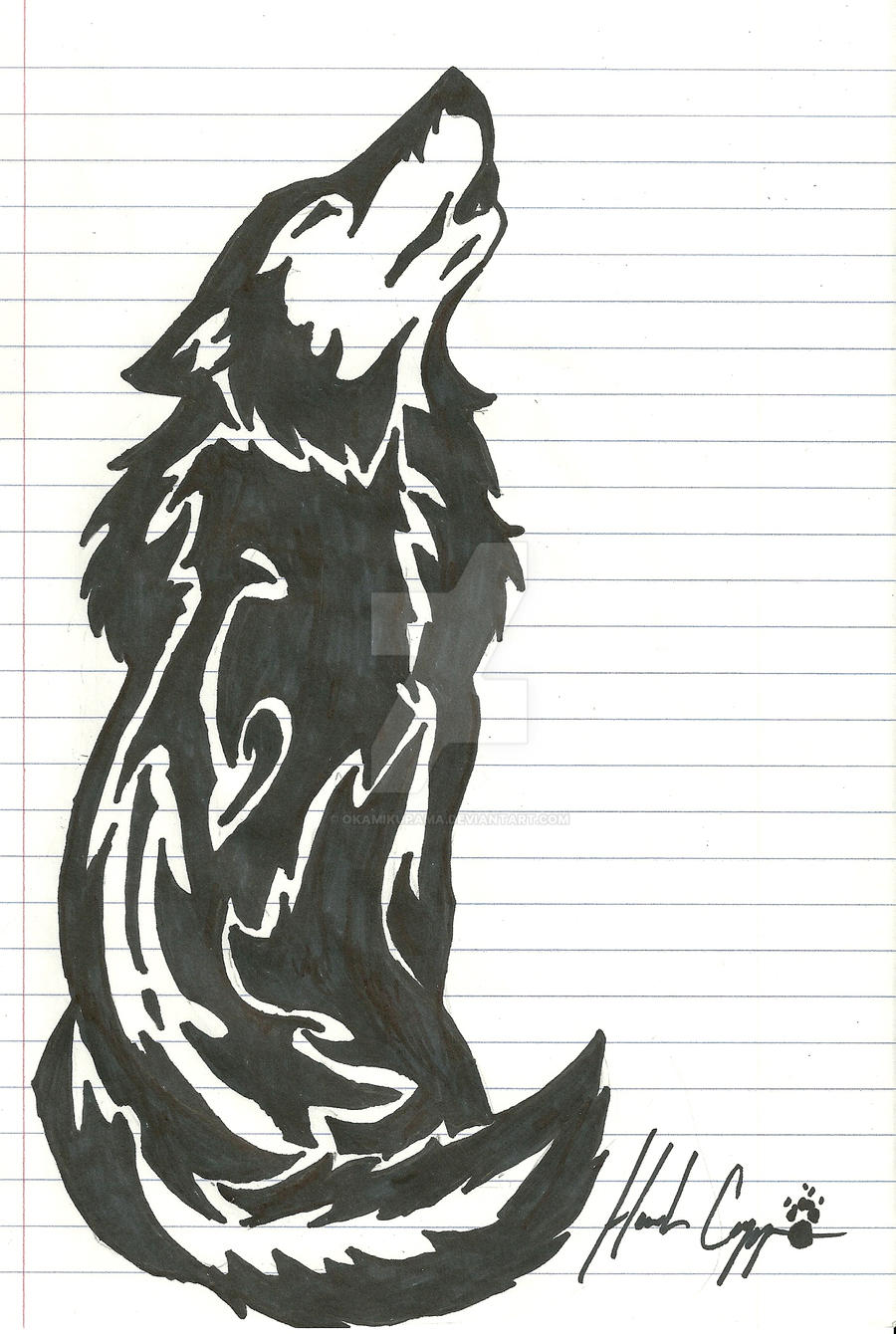 Howling Wolf Tribal Tattoo by Okamikurama on DeviantArt