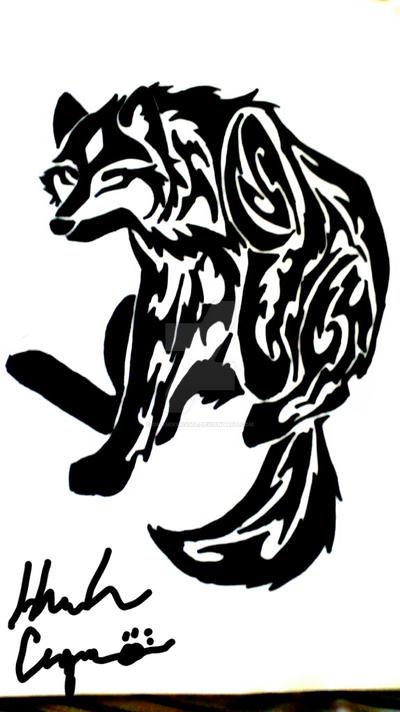 Diamond Wolf Tribal Tattoo by Okamikurama