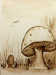 Sepia Mushrooms 3
