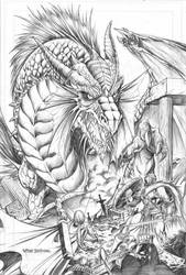 Fantasy Dragon pencil version by vtishimura
