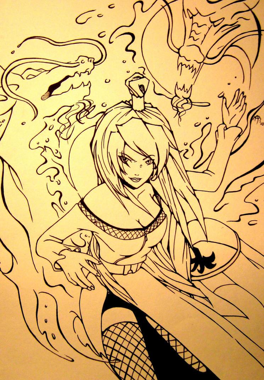 Mizukage Terumi Mei lineart by CzarnaInez95