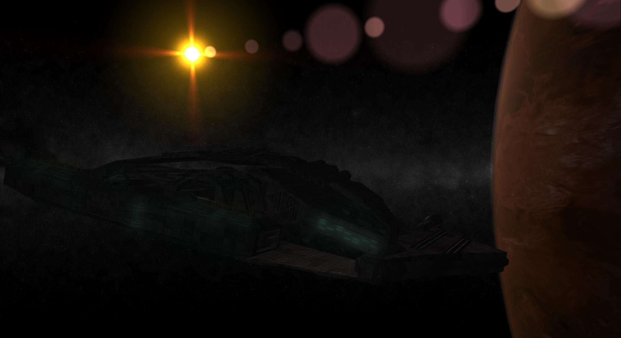 Battlecruiser Husky Leaving Orbit by connorz16