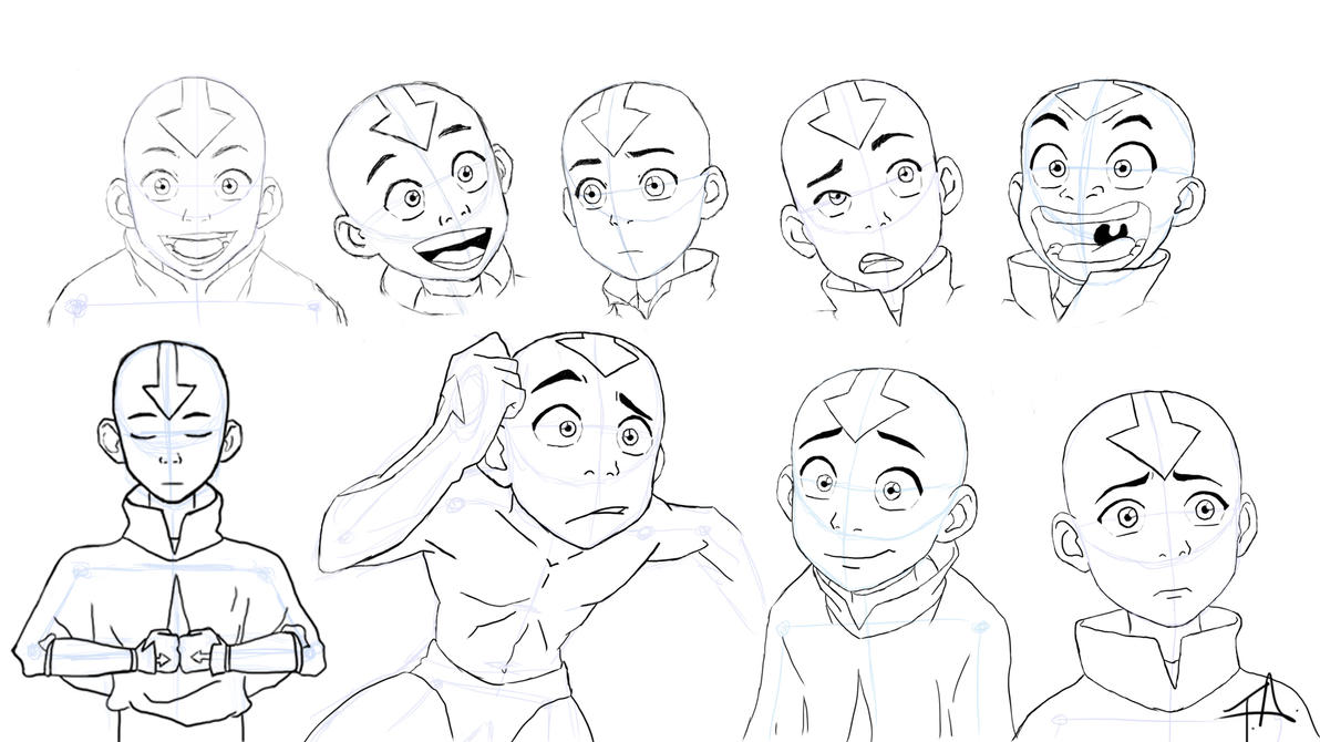 Aangs expressions study by 7neondragon on deviantart avatar the last airbender avatar aang drawing expressions y aang