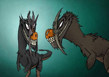 Nightingale and Beelzebub - T. rex characters by titanlizard