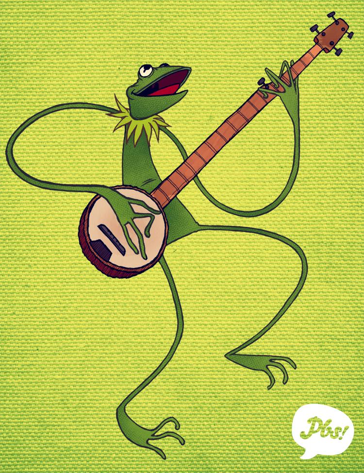 Kermit with a Banjo by paperbeatsscissors
