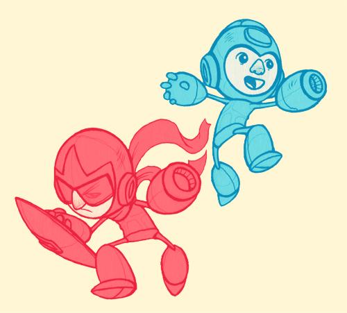 Megaman/Protoman Sketch by paperbeatsscissors