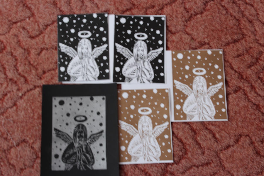 Christmas card projects linocut by RavenAkaShiroi