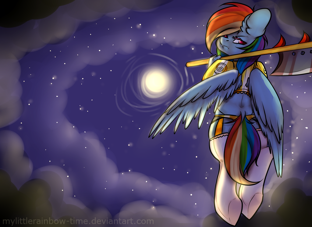 Rainbow Dash in the sky by JunoMaussi