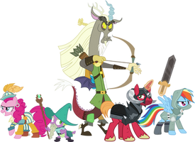 Discord and Friends in their battle positions. by Uponia