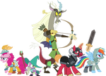 Discord and Friends in their battle positions.