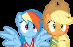 Shocked Rainbow Dash And Applejack