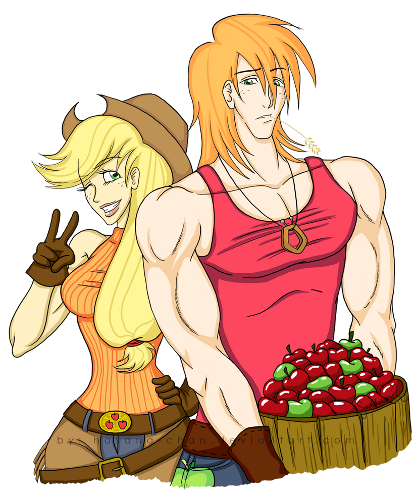Big Mac n' Applejack -human- by Hasana-chan