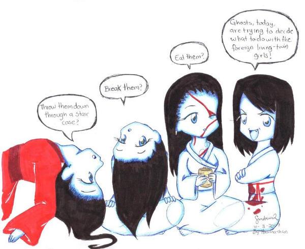 Chibi Ghosts Deciding by Hasana-chan on DeviantArt
