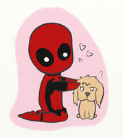 Deadpool and puppy by 15ath