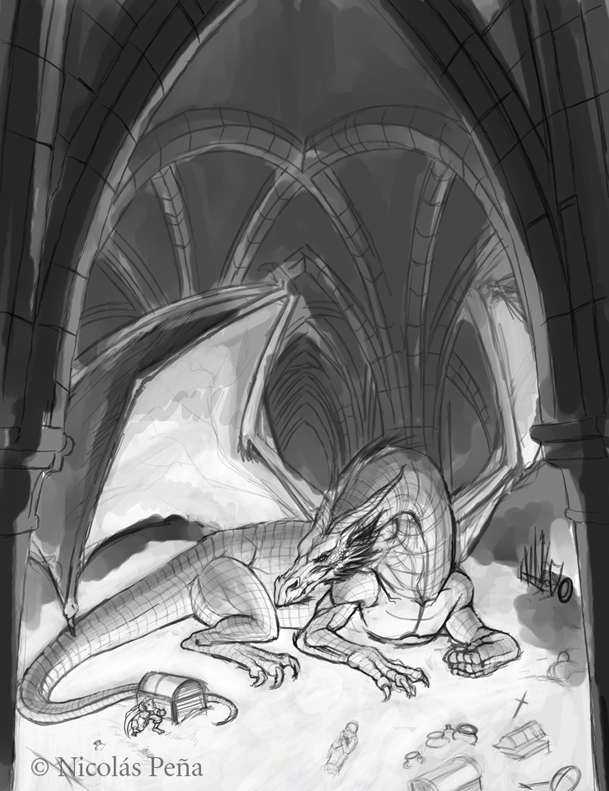 Smaug, sketch. by Amisgaudi