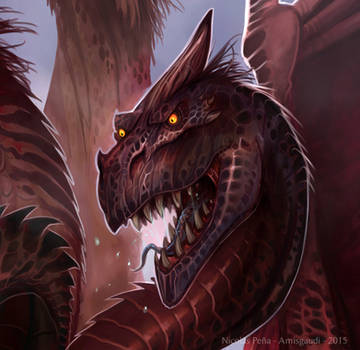 The dragon of the apocalypse, commission, details by Amisgaudi