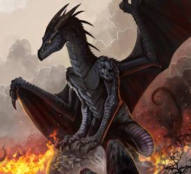 Black Dragon, commission, details by Amisgaudi