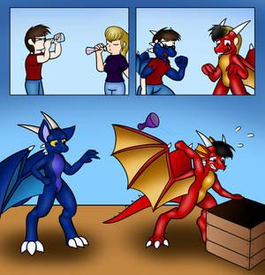 Commission - More Label Mishaps (Dragon Body Swap)