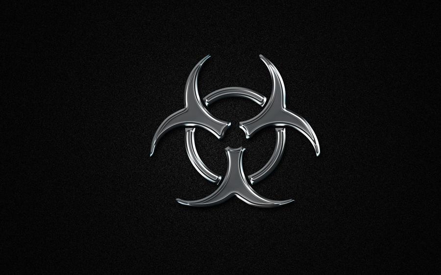 Silver 3D Biohazard Symbol by StarwaltDesign