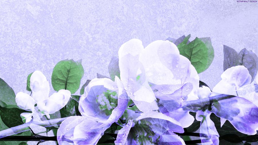 White Petals on Lavender by StarwaltDesign