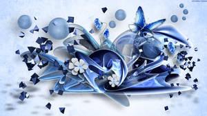 Butterfly on Blue Glass by StarwaltDesign