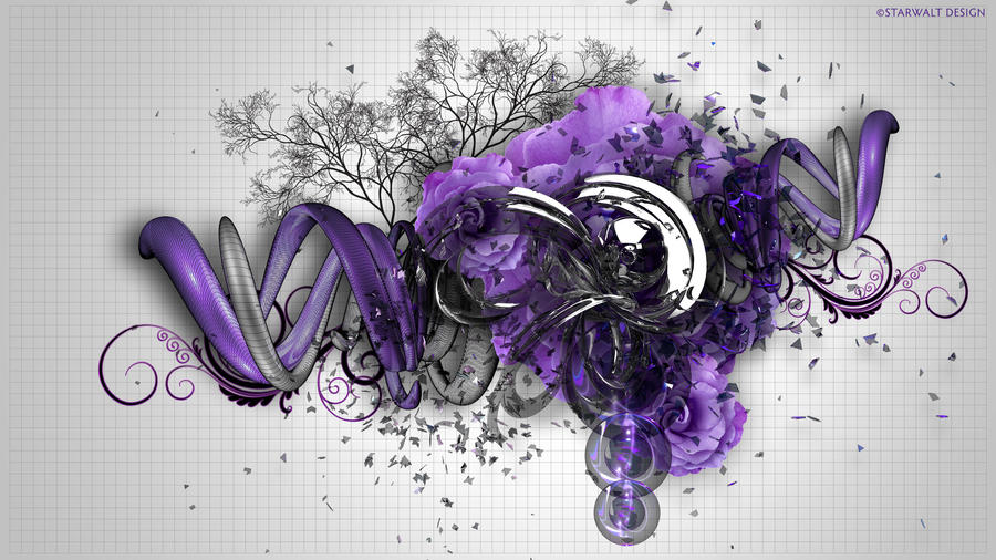 Purple Rose on Grey by StarwaltDesign