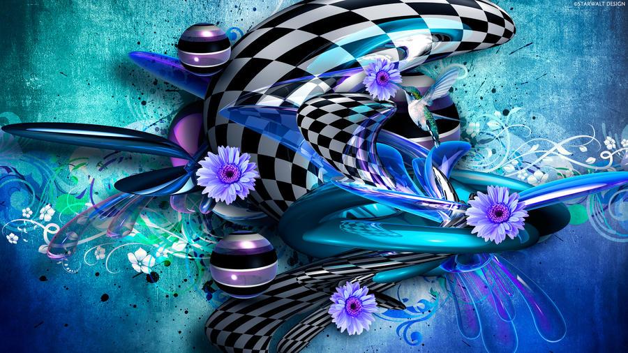 Sculpture in Checkered Motion by StarwaltDesign