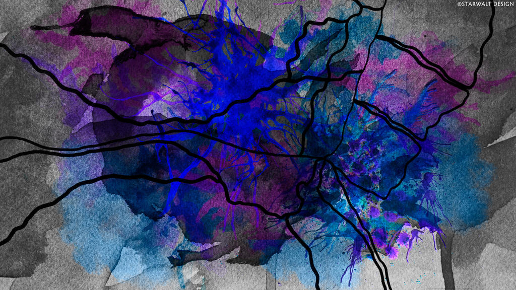 Wet Map with Blue and Lavender by StarwaltDesign