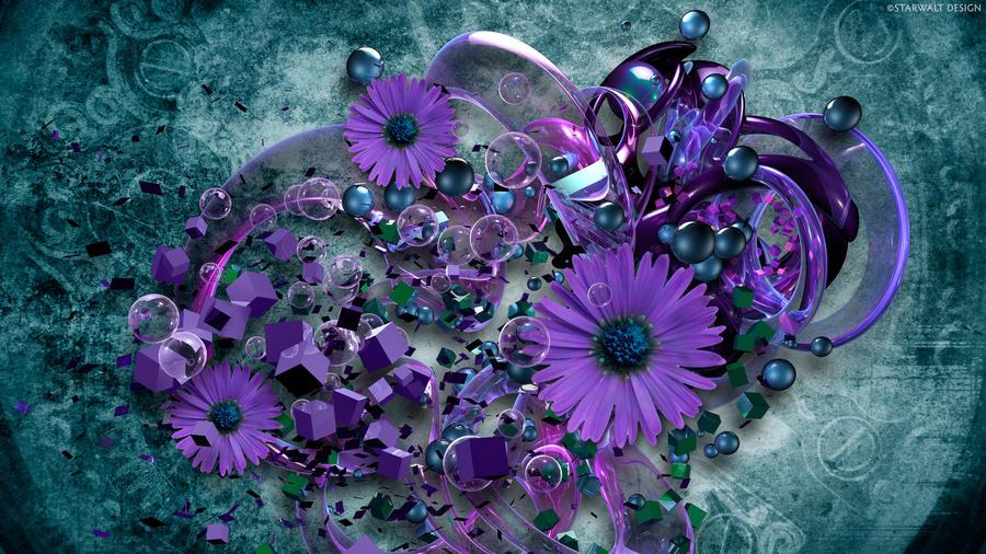 Purple on Teal Grunge by StarwaltDesign