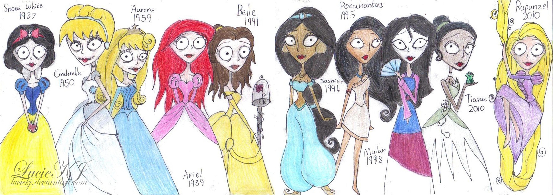 disney princess timeline tim burton style by luciekj on