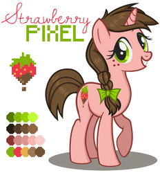 Strawberry Pixel Reference Sheet - MLP OC-