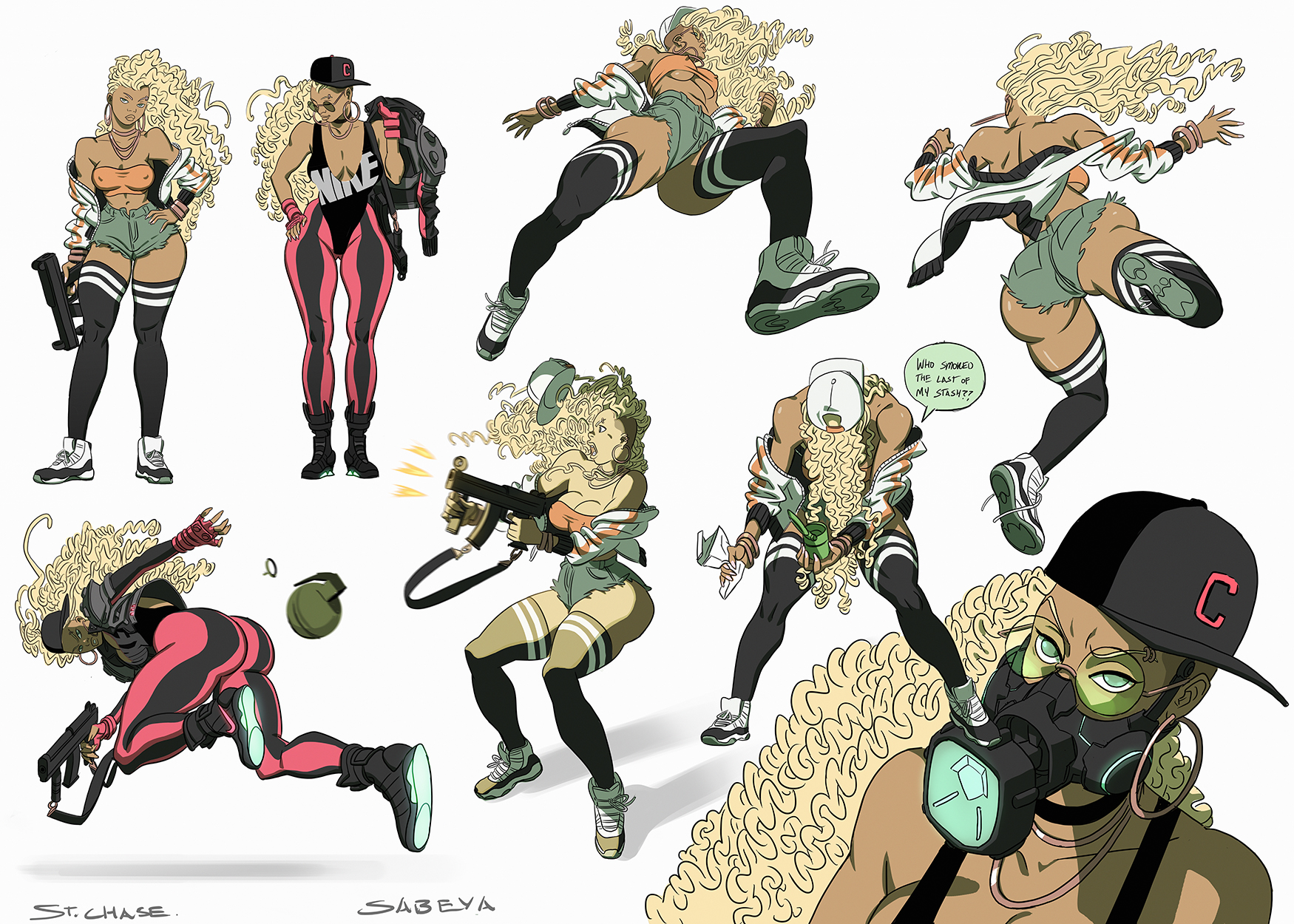 Sabeya Action Poses Color By Chaseconley Kinetic Kartel