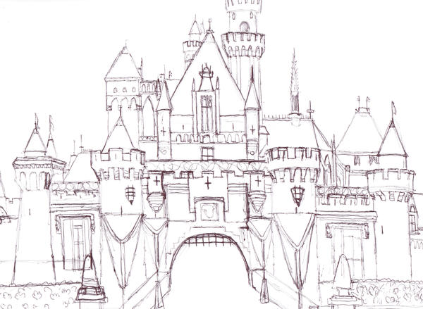 Disneyland Castle in Pen by OddballArtist on DeviantArt Sleeping Beauty Castle Coloring Pages