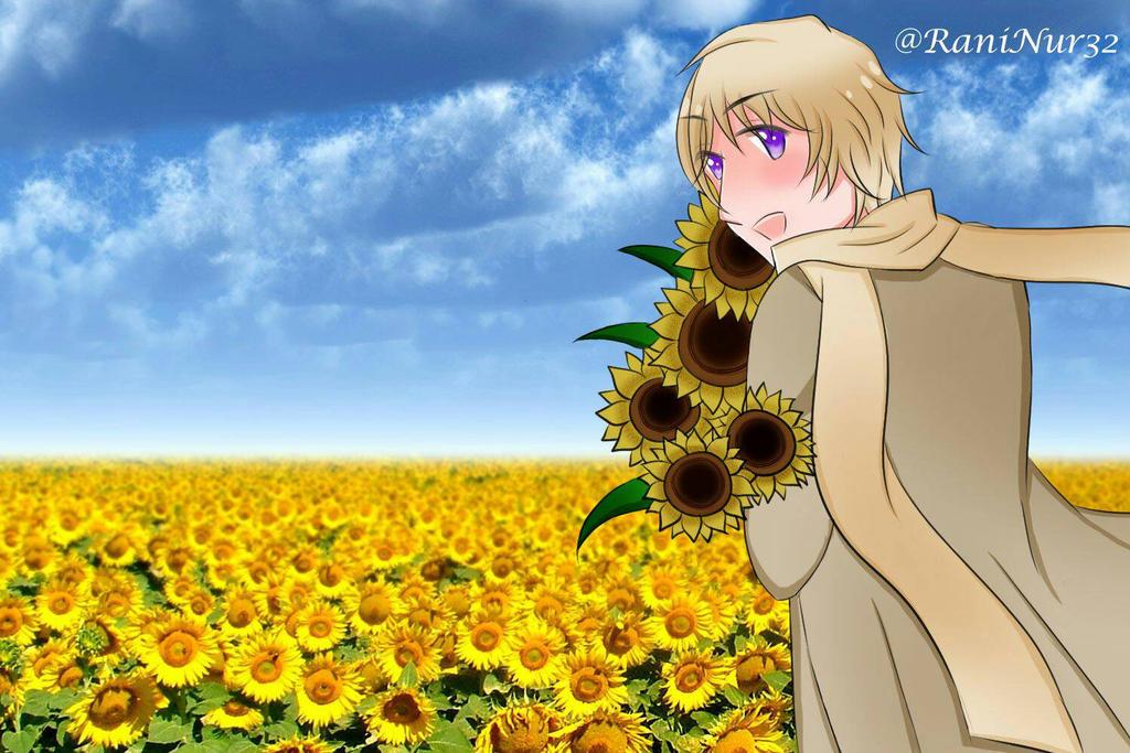 Hetalia Russia sunflower fanart by PeachPink7