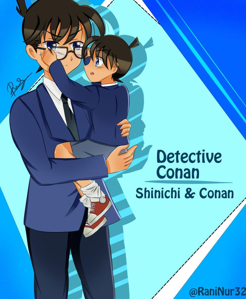 Shinichi and Conan: Wearing glasses by PeachPink7