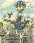 Steam fairy in hot air balloon