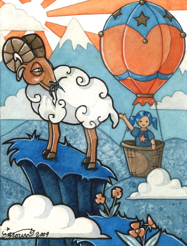 goat hot air balloon and girl by candcfantasyart