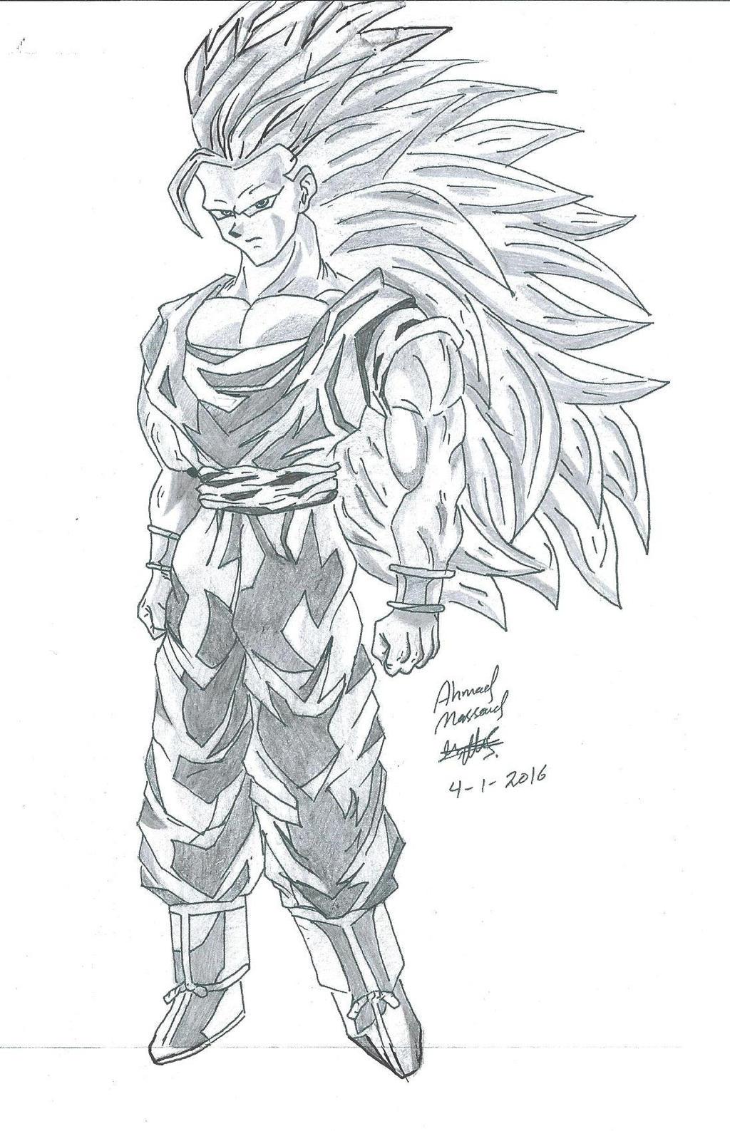 drawing of goku super saiyan 3 by ahmadmass