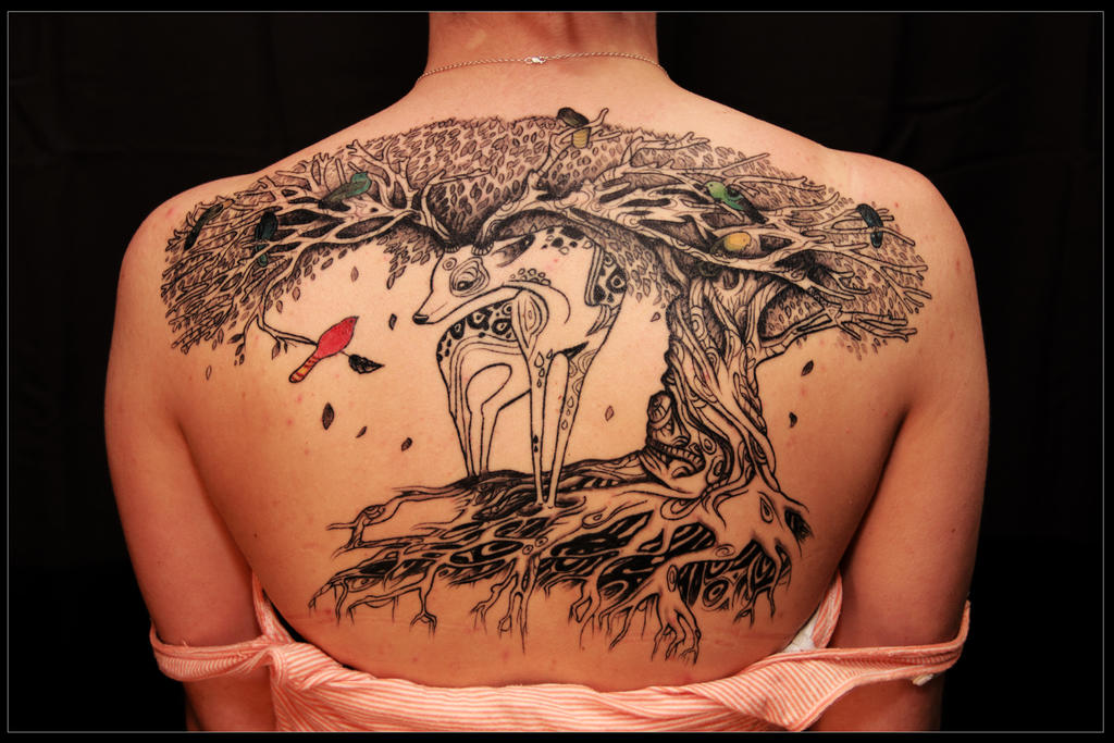 Deer tree tattoo by whitneyw on deviantart for Great falls tattoo shops