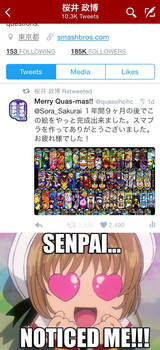 I got a retweet from Masahiro Sakurai
