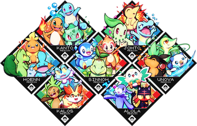 Pokemon Starters by Quas-quas
