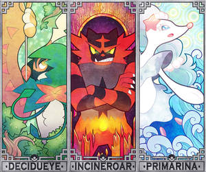 Pokemon Sun and Moon starters by Quas-quas