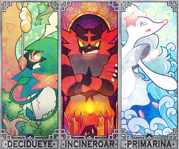 Pokemon Sun and Moon starters by Quas-quas
