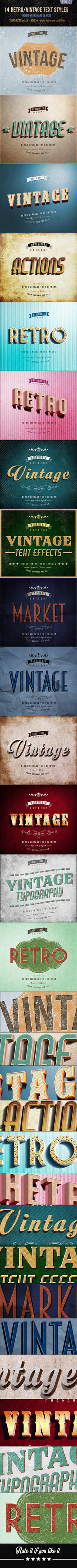 14 Retro / Vintage Text Effects V.2 by simoke820