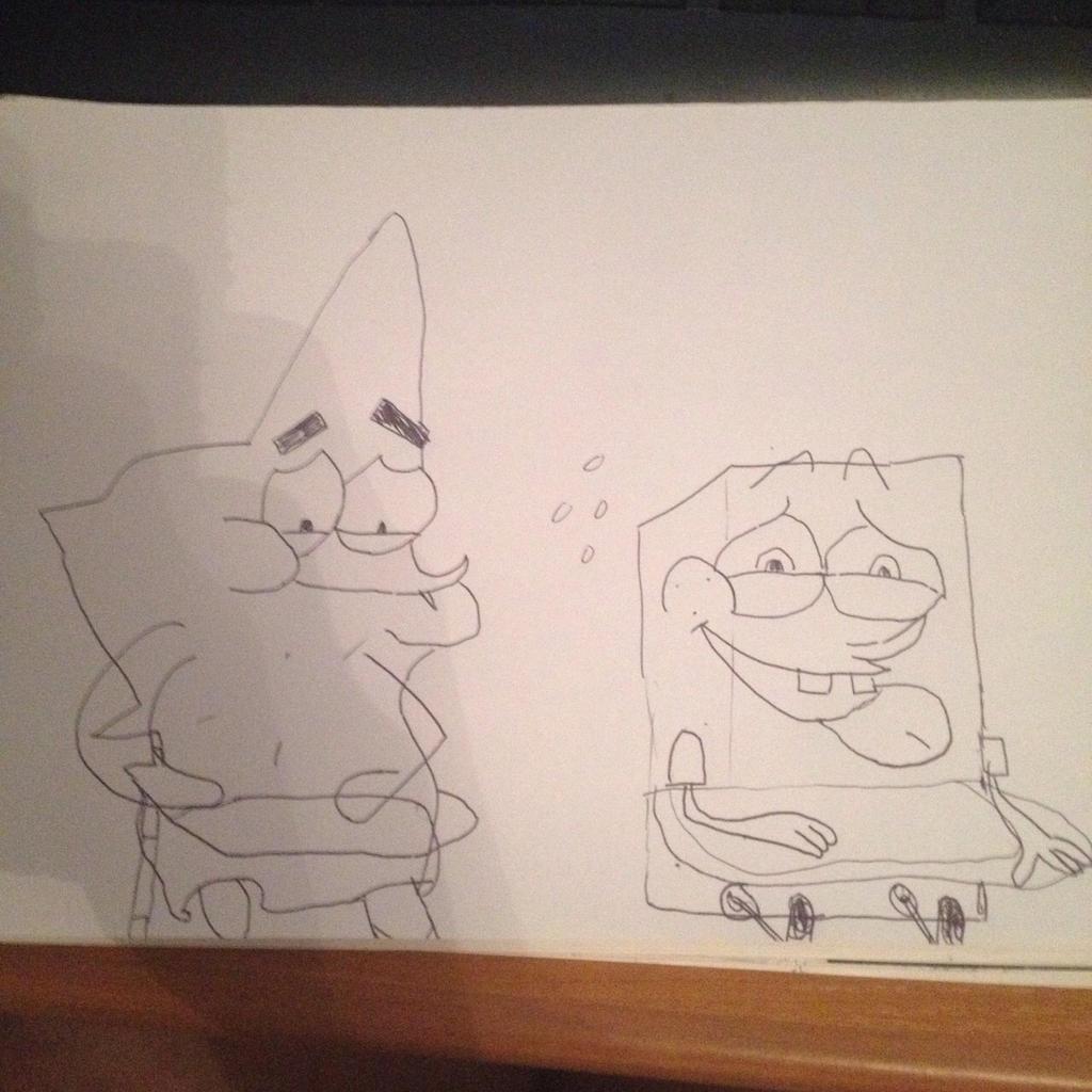 Patrick and Spongebob sitting