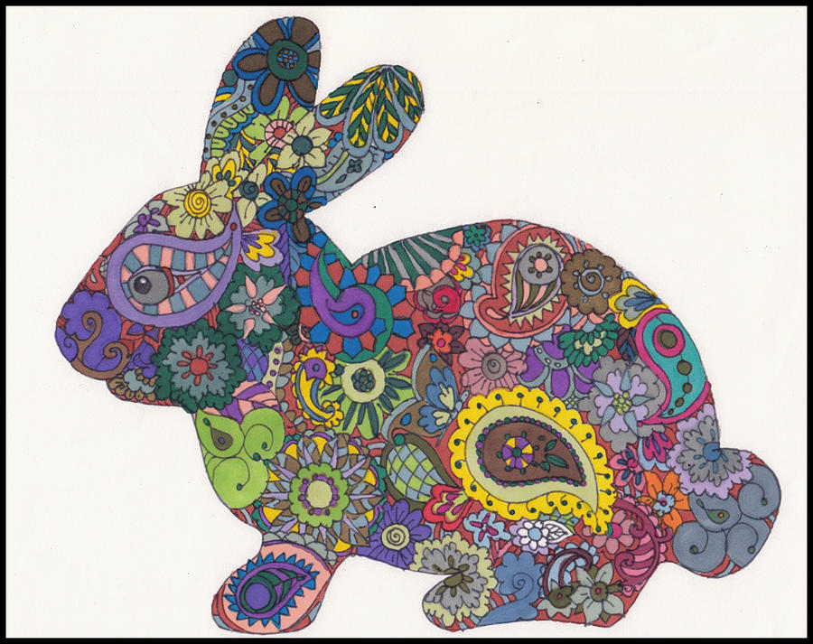 Colored Bunny For Paisley Power Contest By Crazyruthie