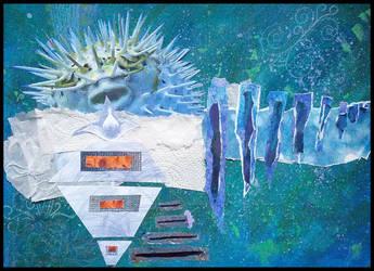 Puffer Fish Collage by crazyruthie