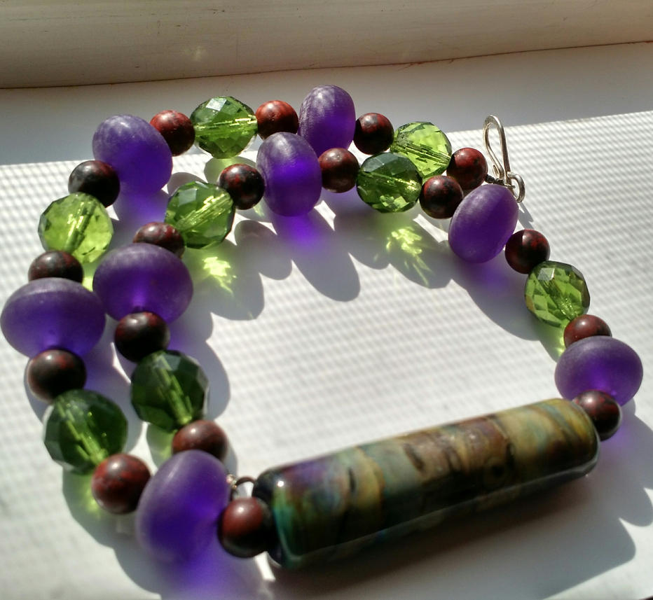 Purple And Green Lampwork Oblong Focal by crazyruthie